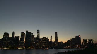 Manhattan New York City skyline at night from Brooklyn heights