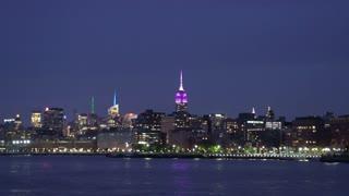Manhattan skyline and Empire state at night, New York City, USA