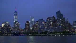Manhattan skyline and Freedom Tower at night, New York City, USA