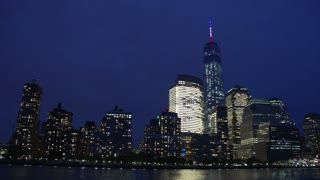 Manhattan skyline and Freedom Tower at night, New York City, USA