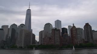 Manhattan skyline with Freedom Tower from the East river , New York City, USA