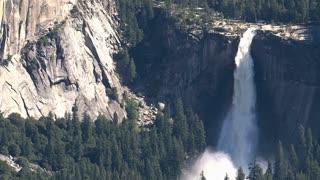Massive waterfall in Yosemite National Park