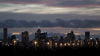 Melbourne city in the evening