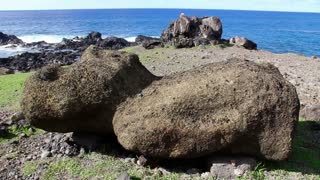 Moai on the ground close to the sea, Easter Island, Rapa Nui