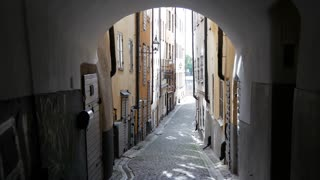 Narrow street in Gamla Stan Old town Stockholm Sweden
