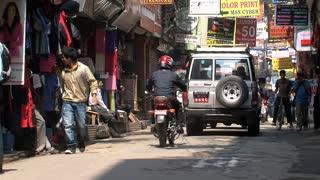 Narrow street in Thamel Kathmandu in the morning