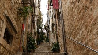 Narrow street with stairs in Dubrovnik Croatia