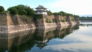 Osaka castle guard house landscape water reflection