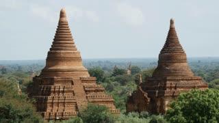 Pagodas landscape in Bagan, Myanmar, Burma