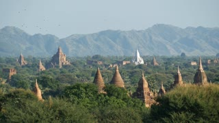 Pagodas landscape with mountains at the background in Bagan, Myanmar, Burma