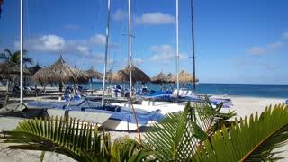 Palm beach Aruba with catamarans