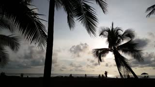Palmtrees and people silhouette during sunset at Jaco beach Costa Rica