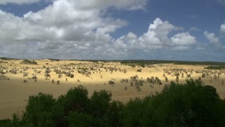 Pan from a wide landscape of The Pinnacles in Western Australia
