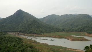 Pan from Central Province river and mountains landscape, Sri lanka