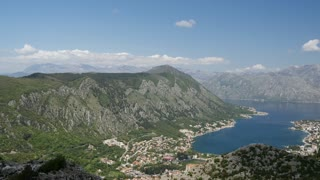 Pan from Kotor Bay from a mountain in Montenegro