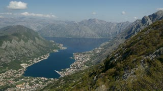 Pan from Kotor bay Montenegro from a mountain