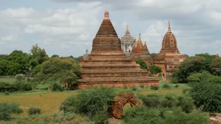 Pan from Pagoda landscape with the That Byin Nyu Temple in Bagan, Myanmar, Burma