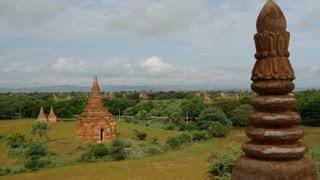 Pan from Pagodas landscape in Bagan, Myanmar, Burma