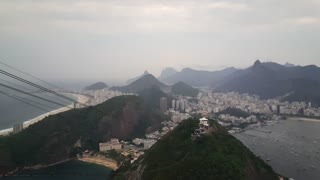 Pan from peak of the Sugarloaf Mountain in Rio de janeiro Brazil