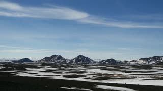 Pan from snowy landscape with Askja volcano in Iceland