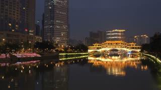 Pan from the Anshun Bridge at night