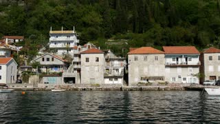 Pan from the ferry at Kotor Bay in Montenegro