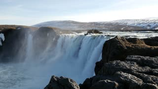 Pan from the Godafoss waterfall in Iceland