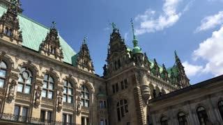 Pan from the Hamburg Rathaus and city hall of Hamburg Germany