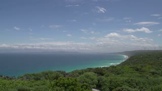 Pan from the Southern Ocean coast to Wind farm at Albany, Western Australia