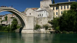 Pan from the Stari Most (Old Bridge) Mostar Bosnia and Herzegovina