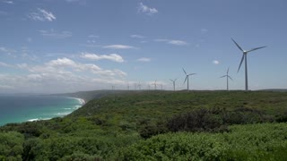 Pan from Wind farm at Albany to the Southern Ocean coast, Western Australia