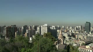 Pan Santiago de Chile city view from Santa Luc�a Hill