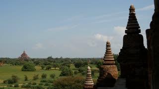 Pan to the Dhammayan Gyi Temple in Bagan, Myanmar, Burma