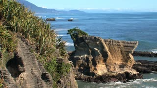 Pancake rocks at the Westcoast, southern island, New Zealand