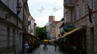 People walking in the street of the Old town Vilnius Lithuania