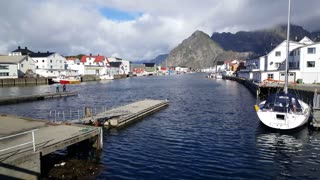 Pier at the harbour of village Henningsvaer Norway