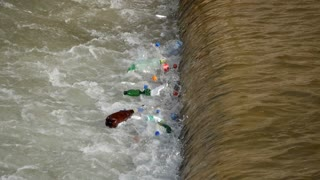 Plastic pollution  in the River Miljacka in Sarajevo