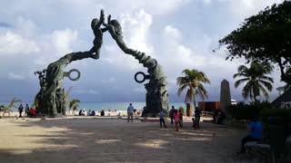 Playa del carmen mermaid statue in Yucatan, Mexico