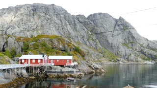 Red wooden house at Nusfjord one of Norway's oldest fishing villages