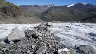 Rocks and snow at Jotunheimen National Park Norway