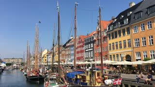 Sailboats in Nyhavn (New Harbour) in Copenhagen Denmark