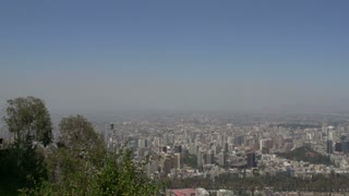 Santiago de Chile city view pan from the san cristobal hill