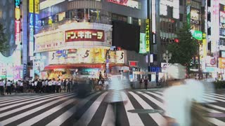 Shinjuku pedestrain crossing timelapse at one of the 23 special wards of Tokyo, Japan. It is a major commercial and administrative centre
