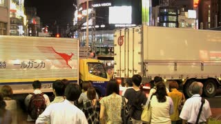 Shinjuku time lapse traffic with cars, train and people