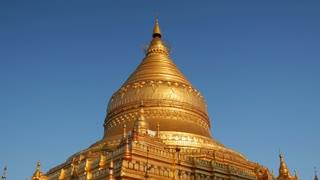 Shwezigon Pagoda in Bagan, Myanmar, Burma