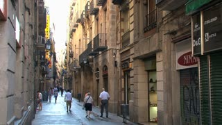 side street of the La Rambla, Barcelona,Spain