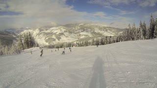 Skiing at the piste in Flachau, Austria