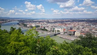 Skyline of Budapest from Gellért Hill. Danube River which separates Buda and Pest