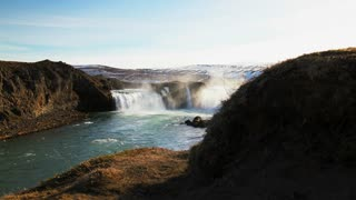 Slide from the Godafoss waterfall in Iceland