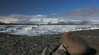 Slide from the Jökulsárlón Glacier lagoon in southeast Iceland